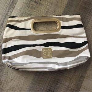 Dana Buchman black gold cream clutch handbag